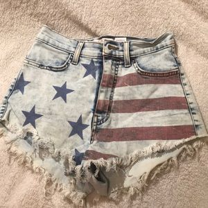 America High-waisted jean shorts